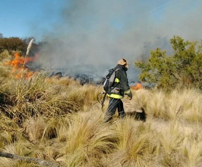 Siete dotaciones de bomberos junto a brigadistas combaten un incendio en lo alto de El Morro