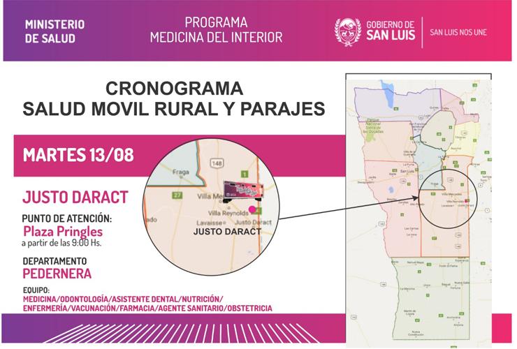 El camión sanitario visitará esta semana los departamentos Pedernera, Chacabuco y Junín