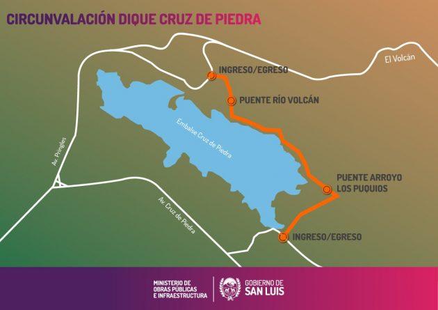 En el verano ya se podrá disfrutar del camino que circunvala al dique Cruz de Piedra