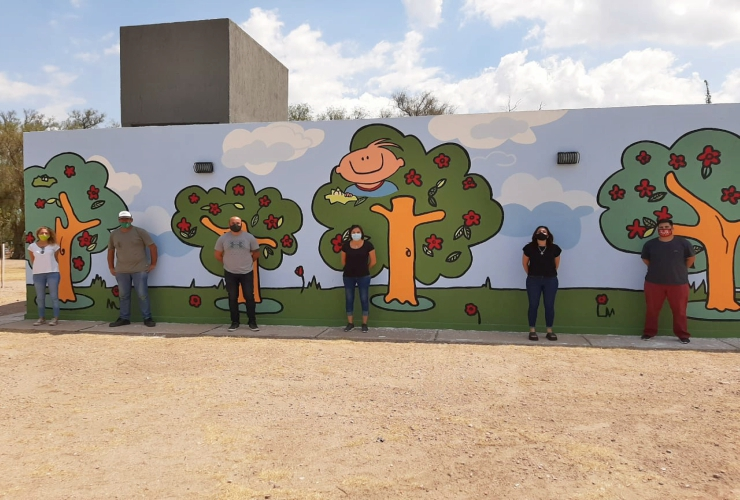 Medio Ambiente y Pinta San Luis homenajearon al Garrahan con un mural en el Parque de las Naciones